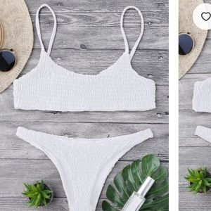 ZAFUL Smocked Bikini Top And Bottoms